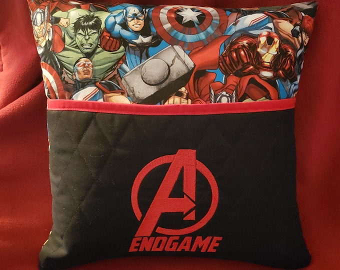 "Novelty Embroidered Reading/Book Pocket Pillow: ""Avengers Endgame"""