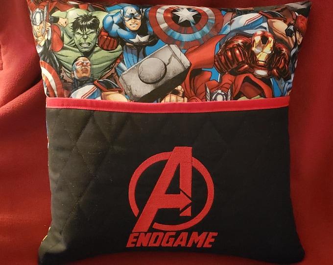 """Novelty Embroidered Reading/Book Pocket Pillow: """"Avengers Endgame"""""""