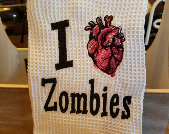 "Novelty Hand Towel ""I Heart Zombies"""