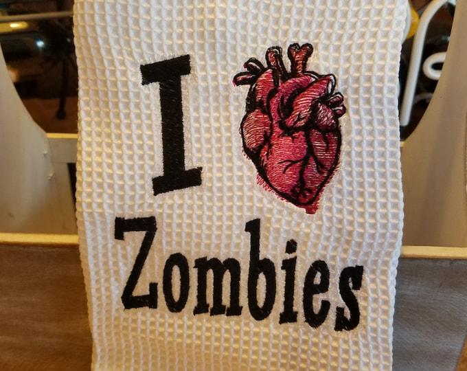"""Novelty Hand Towel """"I Heart Zombies"""""""