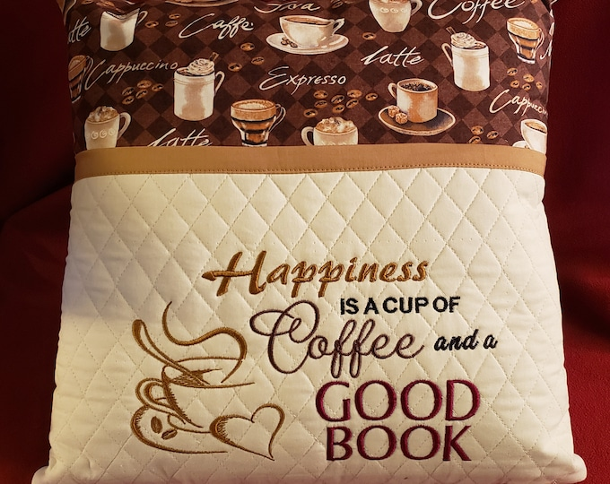"Novelty Embroidered Pocket Reading/Book Pillow: ""Happiness is a Cup of Coffee and a Good Book"""