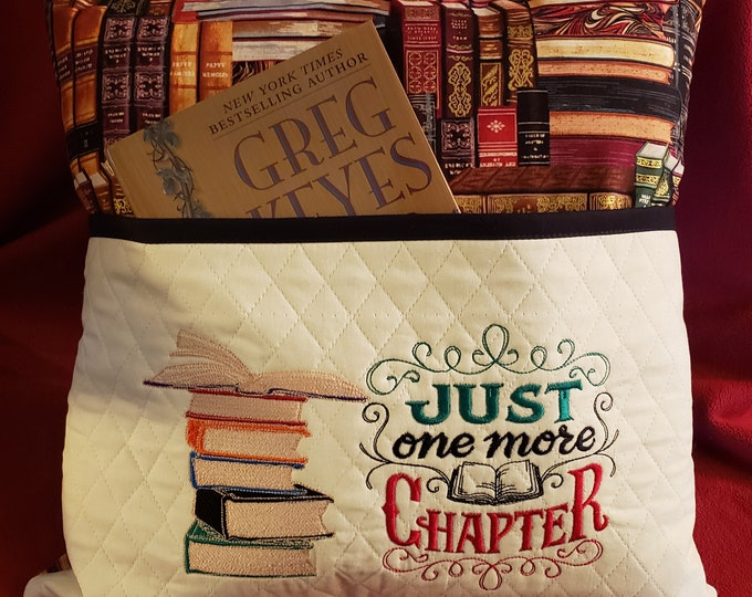 "Novelty Embroidered Reading/Book Pillow: ""Just One More Chapter"""