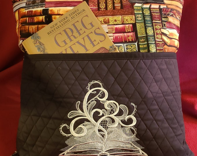 """Novelty Embroidered Pocket Reading/Book Pillow: """"Book of Shadows"""""""