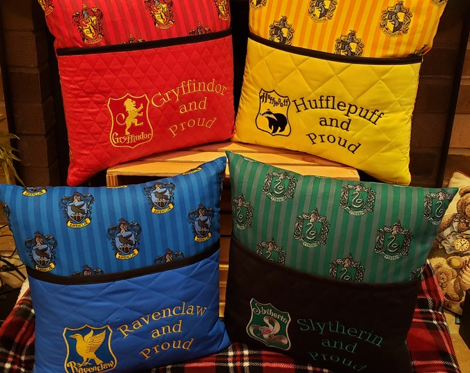 """Novelty Embroidered Book/Reading Pillows with """"Hogwarts House Logos and Saying"""""""