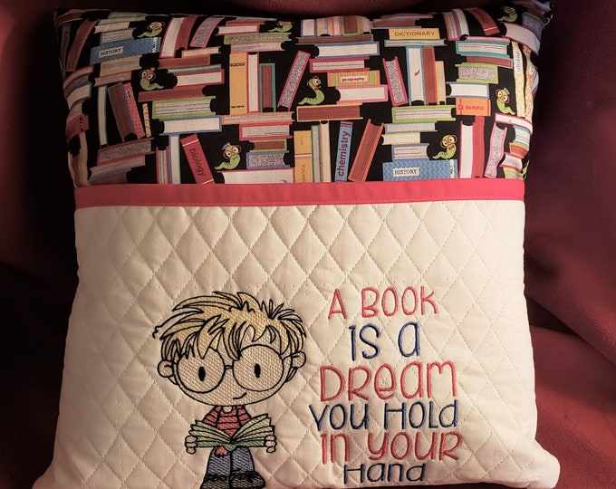 """Novelty Embroidered Boy's Reading/Book Pocket Pillow: """"A Book is a Dream You Hold In Your Hand"""""""