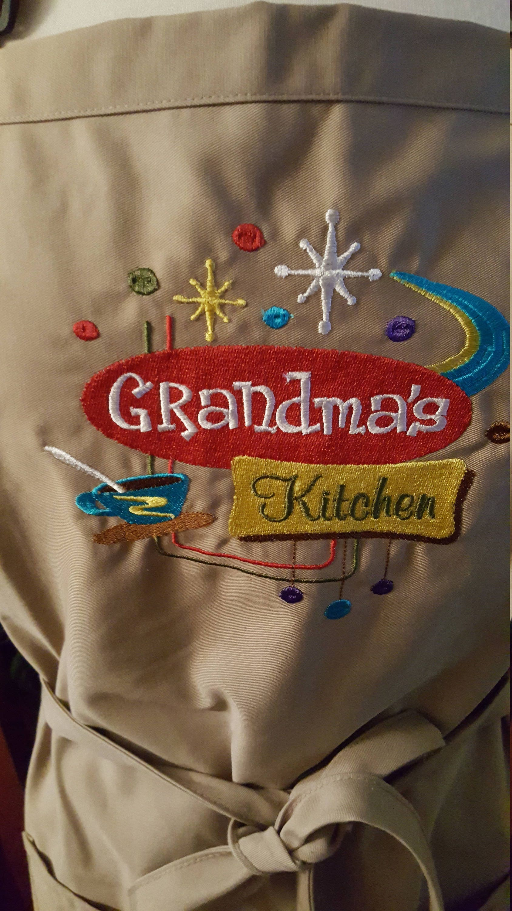 Adult Novelty Apron With Grandma S Kitchen Embroidery Design