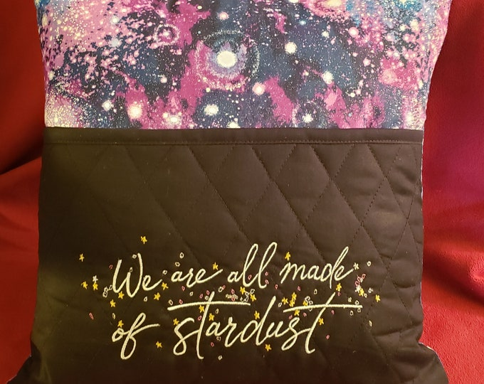 """Novelty Embroidered Reading/Book Pocket Pillow: """"We Are All Made of Stardust"""""""