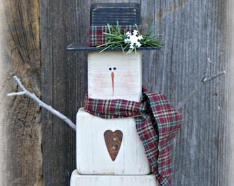Primitive Wooden Snowman Table Sitter ~ Snowman Decor ~ Winter Decor ~ Christmas Decor ~ Mantle Decor ~ Primitive Decor ~ Rustic Snowman