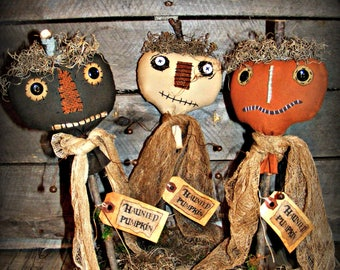 Primitive Haunted Pumpkins ~ Primitive Halloween Decor ~ Primitive Decor ~ Primitive Fall Decor ~ Fabric Pumpkins ~ Primitive Autumn