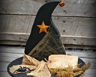 Primitive Wooden Witch Hat ~ Halloween Decor ~ Halloween Table Sitter ~ Olde Witch ~ Primitive Halloween ~ Witch Decor ~ Witches Hat