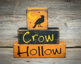 Crow Hollow Shelf Sitter ~ Halloween Decor ~ Halloween Decoration ~ Crow Decor ~ Primitive Halloween ~ Halloween Blocks ~ Fall Decor