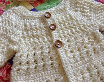Crochet Baby Sweater and Hat, Baby Girl Sweater, Baby Accessories, Baby clothing