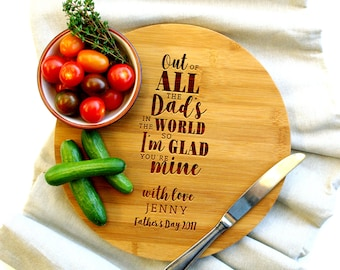 Personalized Cutting Board, Custom Cutting Board, Gift for Dad, Dad's In the World