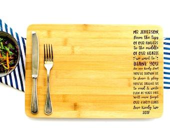 Personalized Cutting Board, Thank you teacher, Kindergarten Gift, Kindy Memories