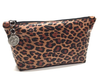 Cosmetic Bag - Leather - Leopard Print - Essentials Bag - Cosmetic Brush Pouch