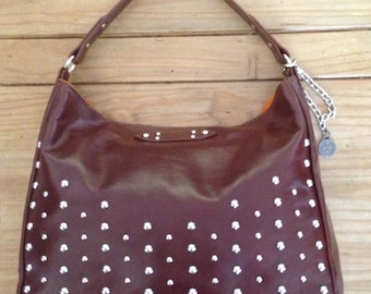 Buffalo Leather Handbag- Studded leather Handbag - Cognac leather handbag- Clearance
