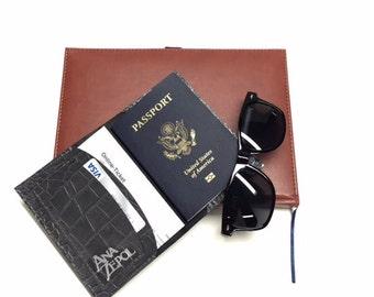 Passport Cover- Single Passport - Slate Croco Gray- Handmade- Leather Passport Wallet- Travel - Custom