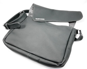 Messenger Bag- Leather- Courier Bag - Gray Perforated Leather- Unisex