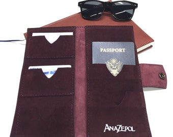 Traveler 3 Passport Wallet - Family Passport Wallet - Suede - Handmade - Travel - Custom cover