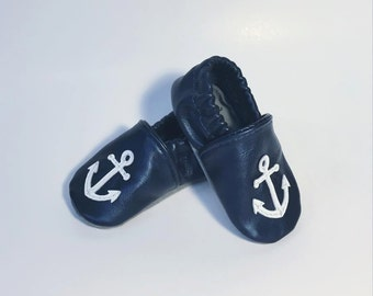 Childrens Leather Slippers - Anchor design - Suede Sole