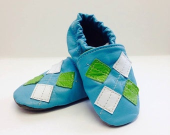 Children - Leather Slippers - Argyle Pattern