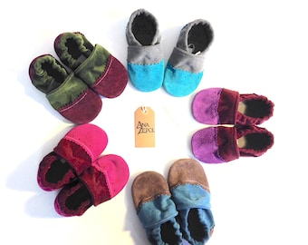 Children's Suede Slippers - Wing Tip