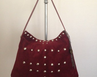 Suede Hobo - Studded suede handbag - Wine - Clearance