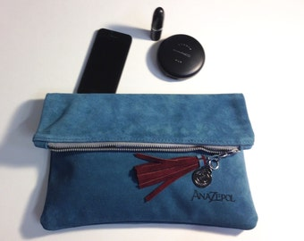 Fold Over- Suede- Clutch Bag-