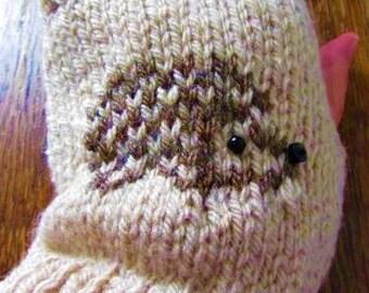 Hedgehog fingerless mittens/gloves - Oatmeal