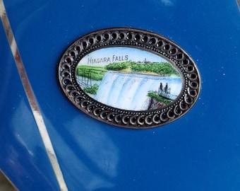 Czech Made Niagara Fall Souvenir Compact Mirror Vivid Blue Enamel Chrome Stripes with Porcelain Enamel Oval At Center Puff Sifter Nice