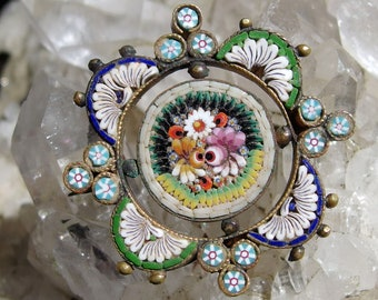19th Century Micro Mosaic Brooch, Intricate Floral Design Center, Outer Floral and Bead Border, C-Clasp, T-Bar Hinge, Gilt Finish, Charming