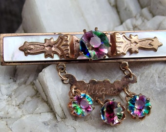 Victorian Iris Glass Brooch, 'Utah' on Gold Fill Drop, 3 Iris Glass Dangles, Mother of Pearl Veneer, Decorative Gold Accent, C-Clasp, Lovely