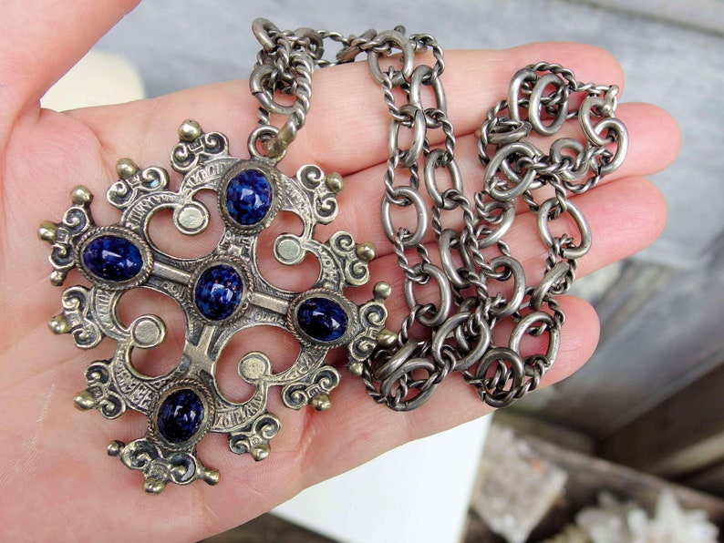 5 Faux Lapis Cabochons Coppini Style Cross Pendant 19 Ornate Chain