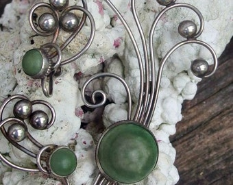 Sterling Silver Brooch and Screw Back Earrings, Large Green Mexican Jade Stones, Playful Wire Shapes with Silver Bead Accents, Signed