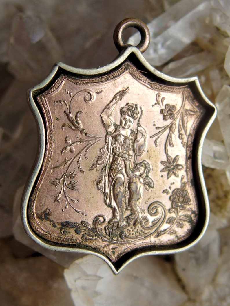 Embossed Woman with Cherub on Back Redmen Double Sided Shield Fob Nice Enamel TOTE Insignia with Weaponry U.S Rare RGP Flag Shield