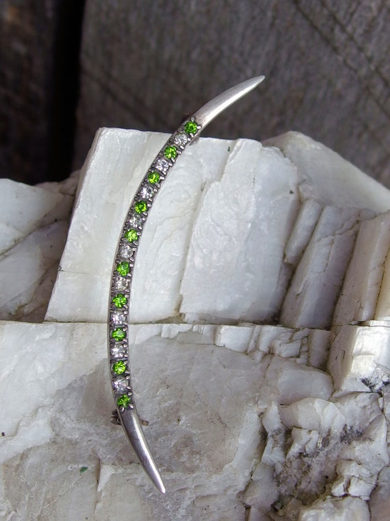 Lever Safety Clasp Edwardian CRR Sterling Silver /'Honeymoon/' Crescent Moon Pin or Brooch Signed on Back Peridot Green and White Crystals