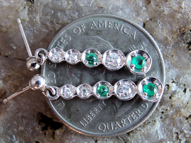 Signed Post Findings 14k White Gold Diamond Emerald Earrings