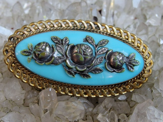 dfb27a1af Victorian Oval Pressed Glass Brooch Persian Turquoise Blue | Etsy