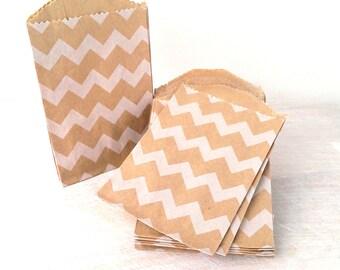 "20 mini kraft bags - 2.75 x 4"" inches - brown kraft bags - white chevron pattern - little bitty bags"