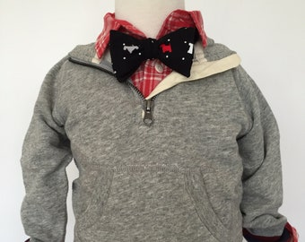 Black and Red Scottie Bow Tie