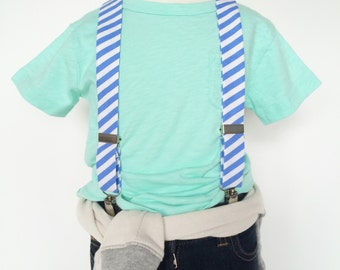 Blue Stripe Suspenders