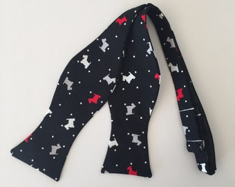 Men and Teen's Christmas Scottie Dog in Black, Grey, Red and White Bow Tie
