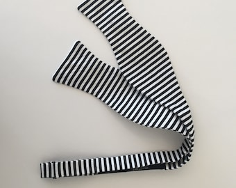 Men and Teen's Black Skinny Stripe Bow Tie