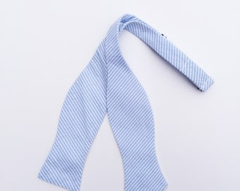 Men and Teen's Baby Blue Seersucker Bow Tie