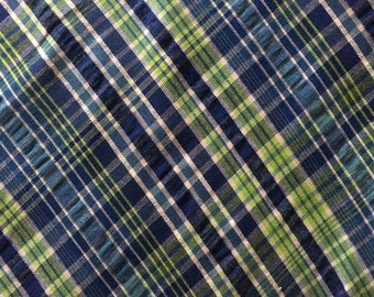 Robert Kaufman Navy and Green Plaid