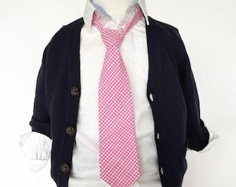 Pink Gingham Necktie | Boys