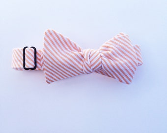Orange Seersucker Bow Tie