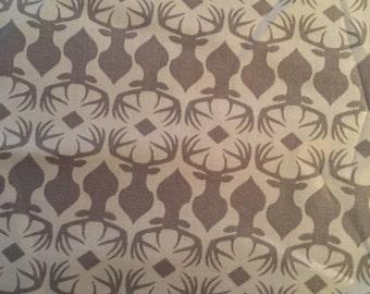 Grey Deer Geometric Fabric