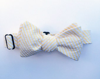 Yellow Seersucker Bow Tie