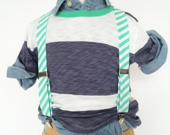 Spearmint Mint Stripe Suspenders
